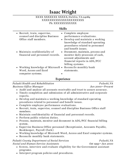Business Office Manager resume format Virginia