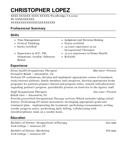 Home health Occupational Therapist resume format Virginia
