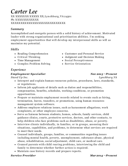 Employment Specialist resume example Virginia