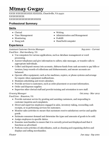 Assistant Customer Service Manager resume example Virginia