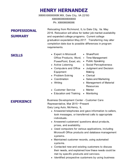 Business Development Center Customer Care Representative resume format Virginia
