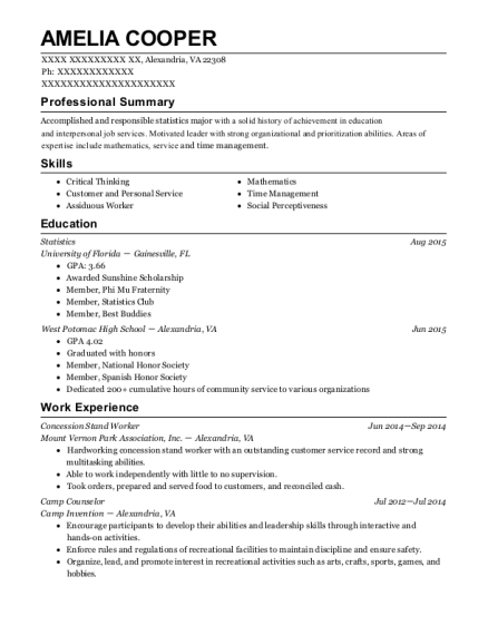 Concession Stand Worker resume template Virginia