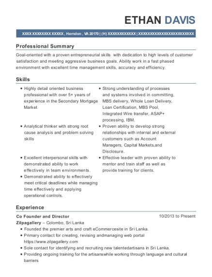 Co Founder and Director resume template Virginia