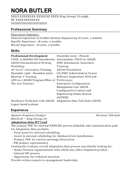 Systems Engineer resume example Virginia