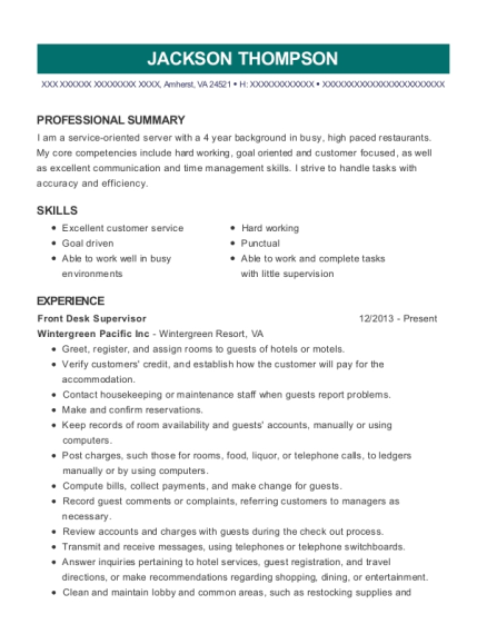 Front Desk Supervisor resume sample Virginia