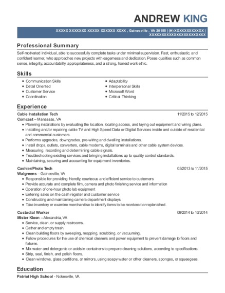 Cable Installation Tech resume template Virginia