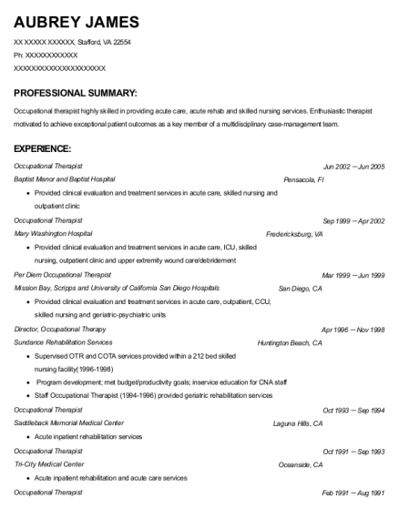 Occupational Therapist resume template Virginia