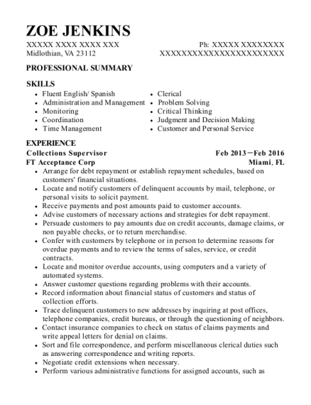 Collections Supervisor resume example Virginia