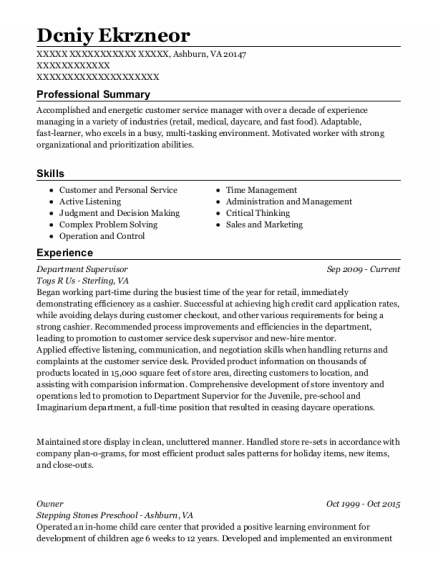 Department Supervisor resume format Virginia