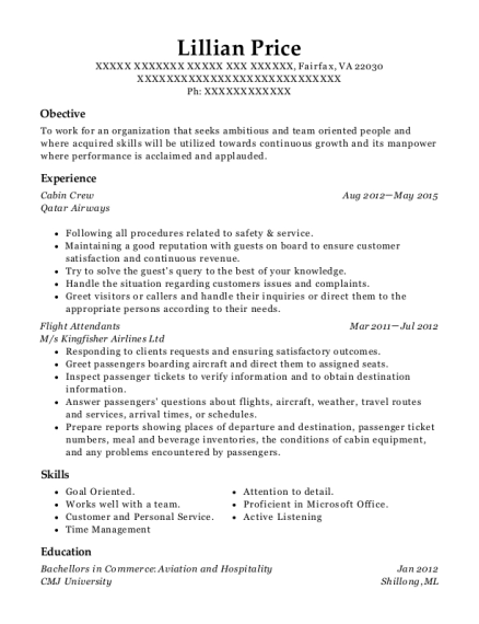 Qatar Airways Cabin Crew Resume Sample - Allahabad Uttar Pradesh
