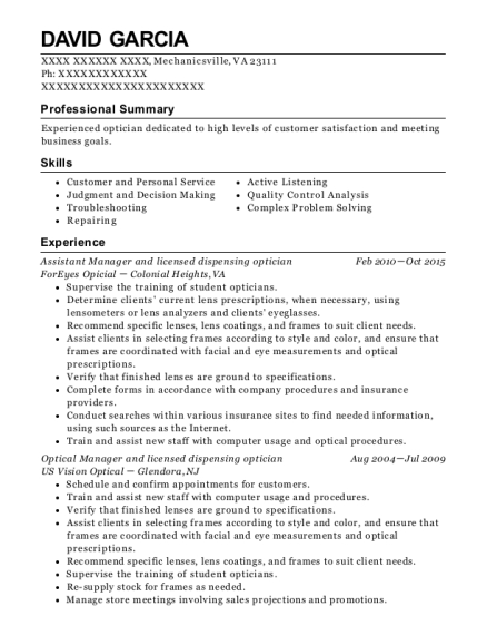 Assistant Manager and licensed dispensing optician resume template Virginia