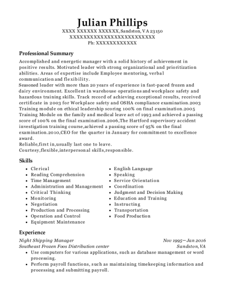Night Shipping Manager resume template Virginia