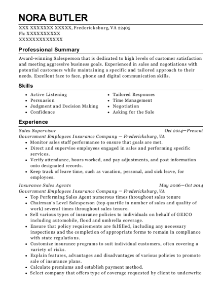 Sales Supervisor resume format Virginia