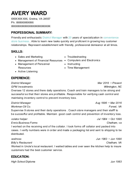 District Manager resume example Virginia