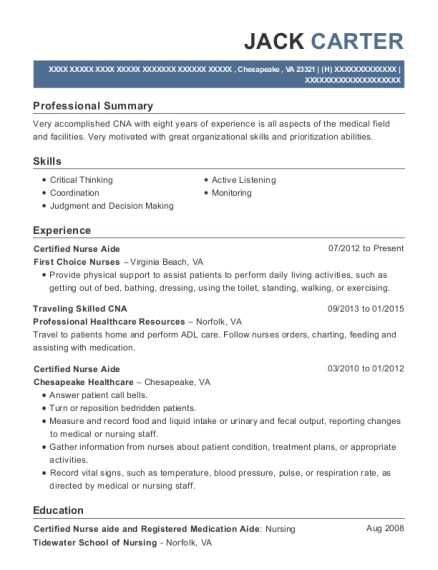 Certified Nurse Aide resume example Virginia
