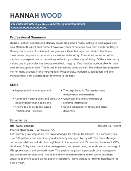 RN Case Manager resume sample Virginia