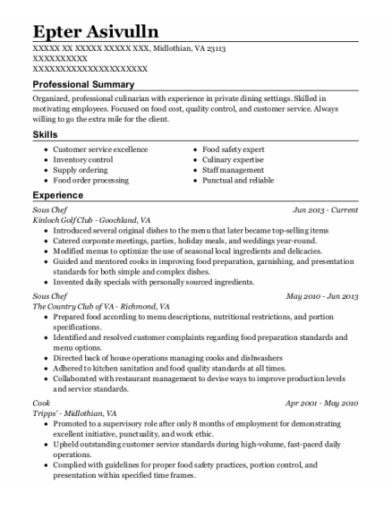 Sous Chef resume template Virginia