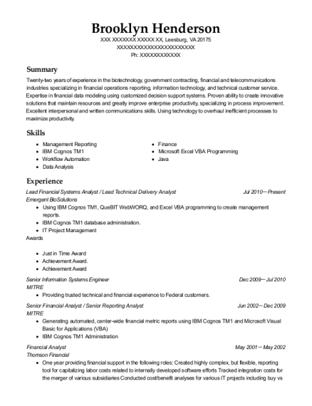 Lead Financial Systems Analyst resume format Virginia