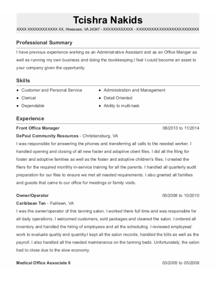 Front Office Manager resume example Virginia