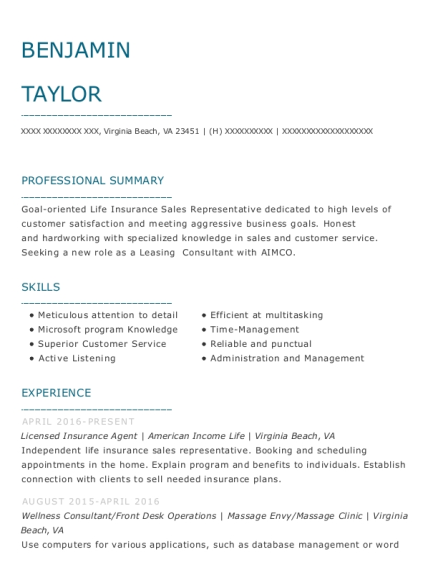 Licensed Insurance Agent resume sample Virginia