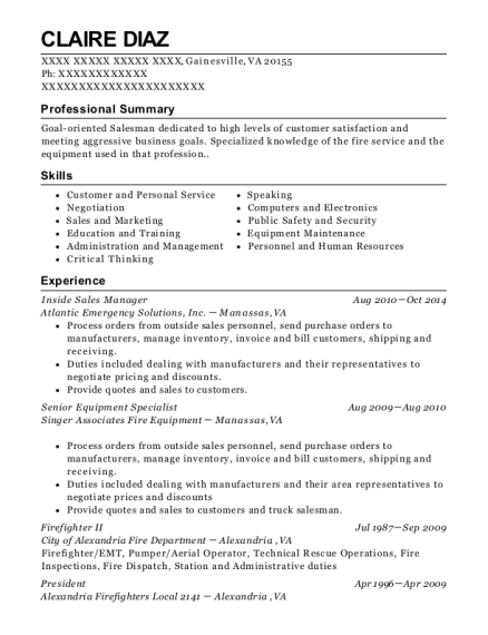 Inside Sales Manager resume example Virginia