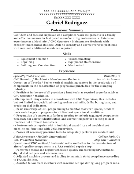 CNC Operator resume sample Virginia