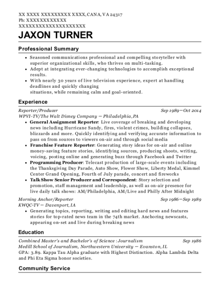 Reporter resume template Virginia