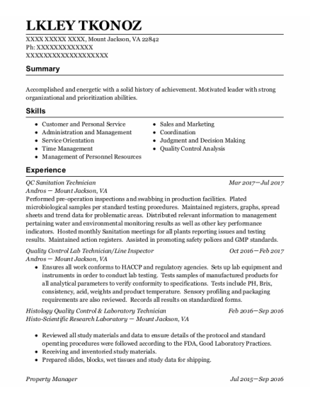 Quality Control Lab Technician resume template Virginia