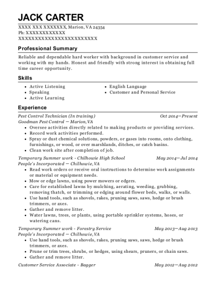 terminix pest control technician resume sample