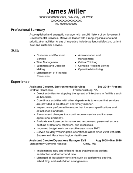 Assistant Director resume example Virginia