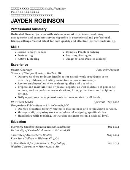 Owner Operator resume template Virginia