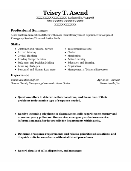Communications Officer resume template Virginia