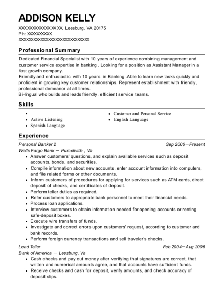 Personal Banker 2 resume template Virginia