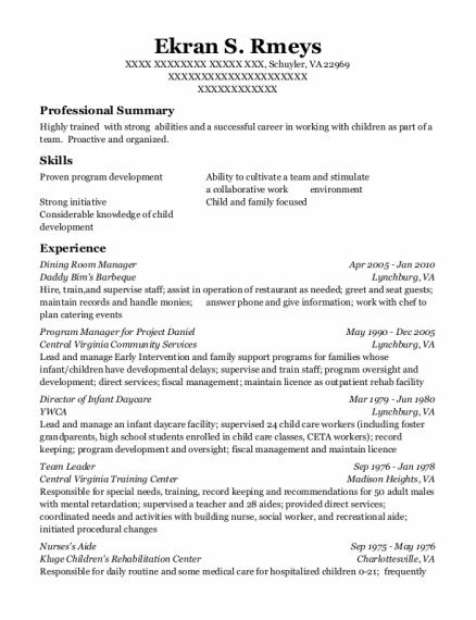 Dining Room Manager resume sample Virginia