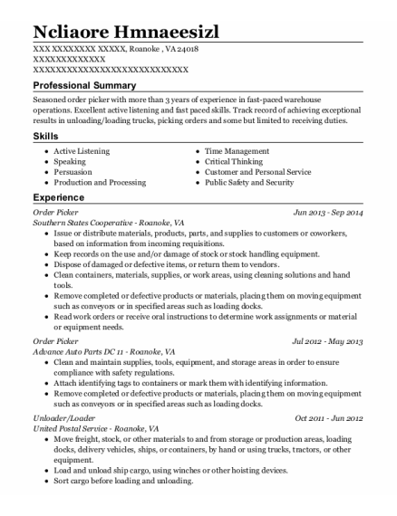 Order Picker resume sample Virginia