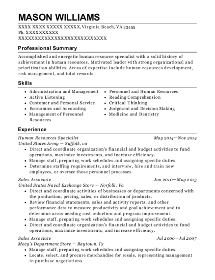 Human Resources Specialist resume sample Virginia