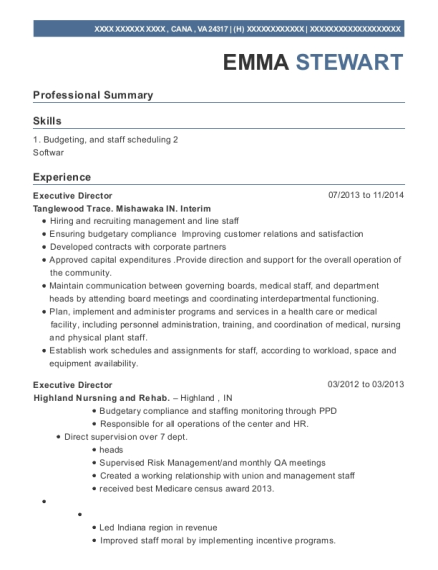 Executive Director resume example Virginia
