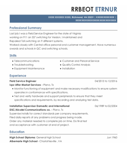 Field Service Engineer resume example Virginia