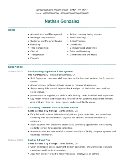 Merchandising Supervisor & Management resume format Virginia