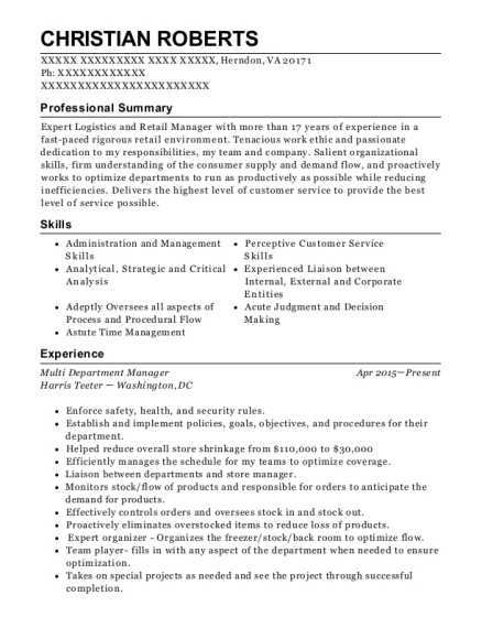 Multi Department Manager resume sample Virginia