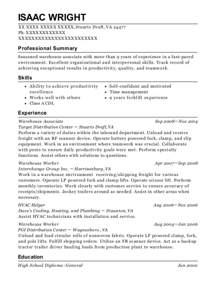Warehouse Associate resume example Virginia