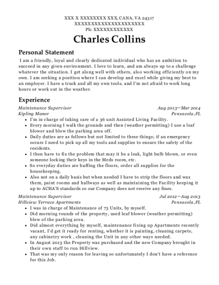 Maintenance Supervisor resume sample Virginia