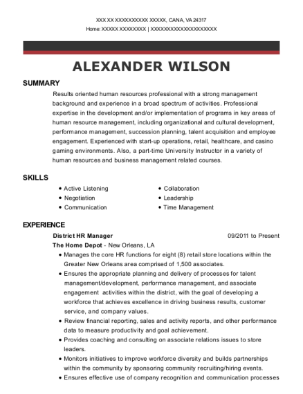 District HR Manager resume template Virginia
