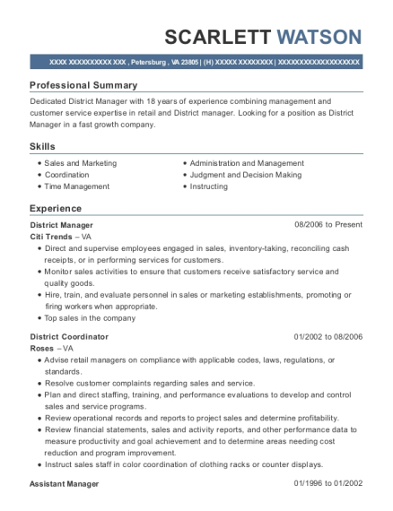 District Manager resume template Virginia