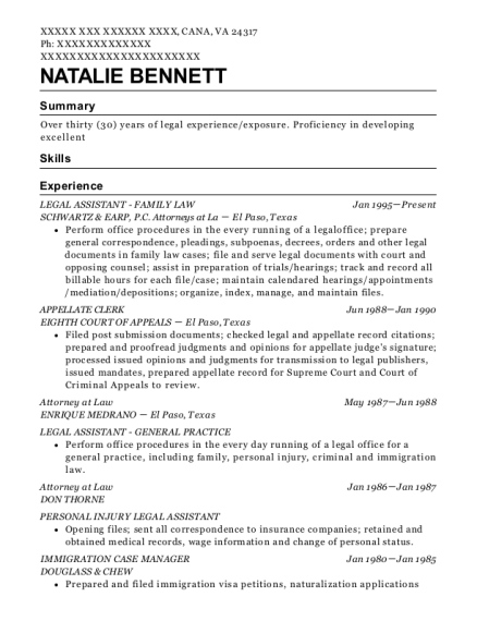 LEGAL ASSISTANT FAMILY LAW resume example Virginia