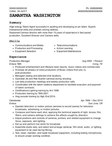 Production Manager resume template Virginia
