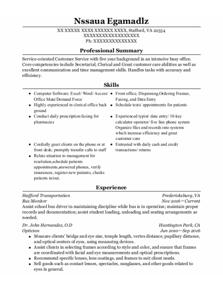 Bus Monitor resume format Virginia
