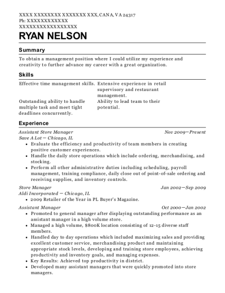 Assistant Store Manager resume template Virginia