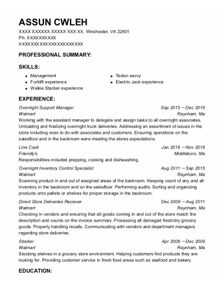 Overnight Support Manager resume template Virginia