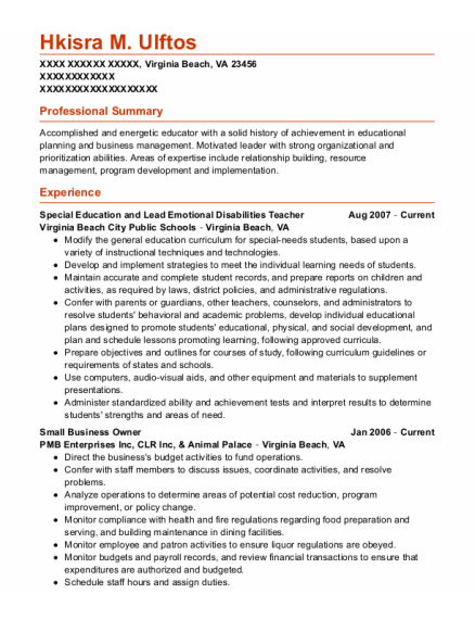 Small Business Owner resume example Virginia